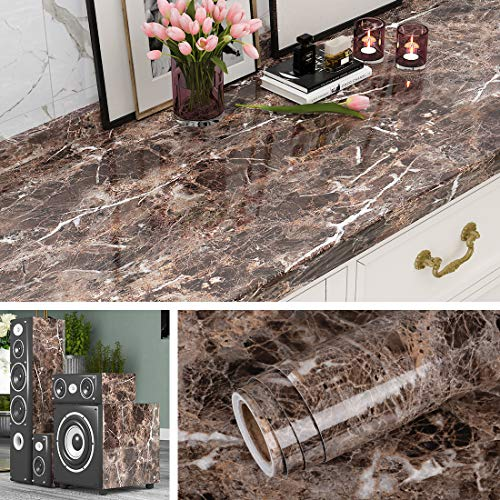 Livelynine Marble Contact Paper Peel and Stick Countertops Kitchen Wallpaper for Bathroom Counter Top Desk Cover Removable Waterproof Adhesive Furniture Sticker Cabinet Covers 15.8x78.8 Inch
