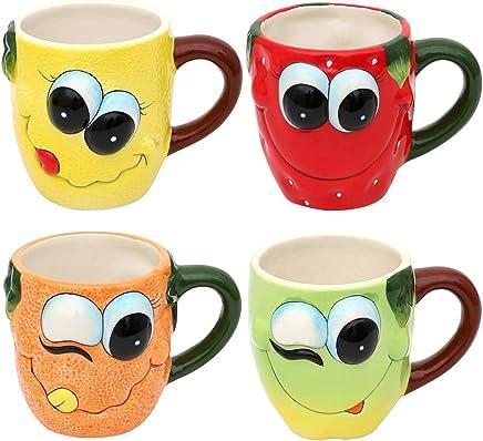 Preisvergleich für Holzkunst Sigro Keramik Tasse lustige Früchte Verschiedene Varianten zur Auswahl Erdbeere Zitrone Orange oder Apfel Küche Geschirr Geschenkidee (Becher Orange)
