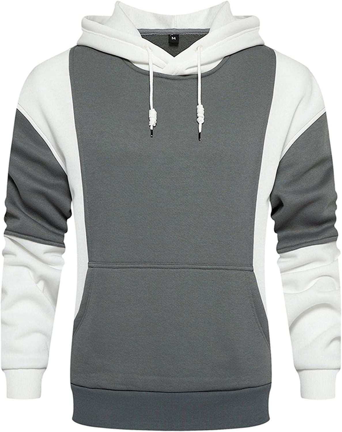 LEIYAN Mens Casual Hoodie Pullover Fashion Lightweight Long Sleeve Colorblock Hooded Sweatshirts for Running Jogging