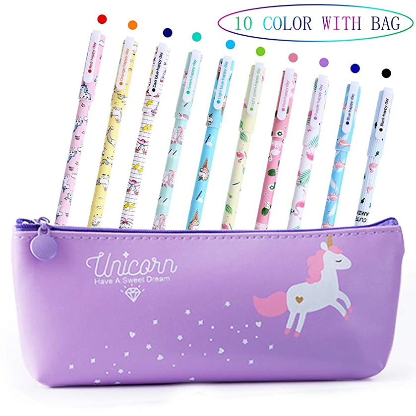 Yansion Unicorn Flamingo Gel Pens Set Cute PU Zipper Unicorn Pencil Case Pouch Bag School Gift for Girls
