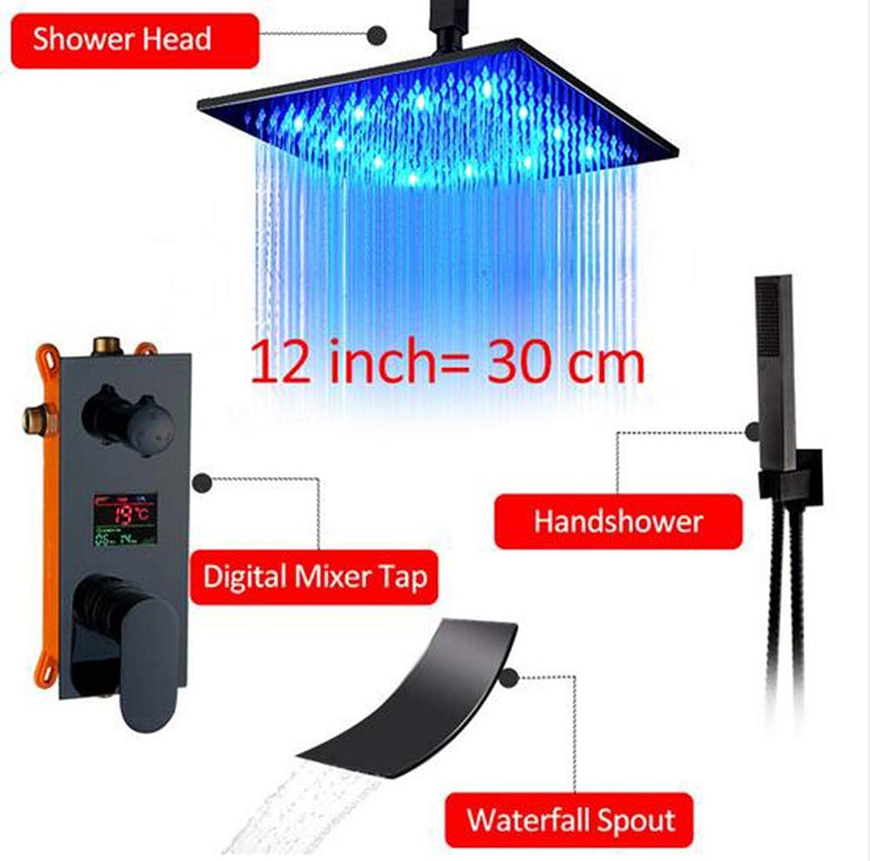 MICHEN Schwarz Digital Duscharmaturen Set LED Regenfall Wasserfall Duschkopf Digital Temp Display Mischbatterie Verbergen Dusche Wasserhahn,12inchfullset