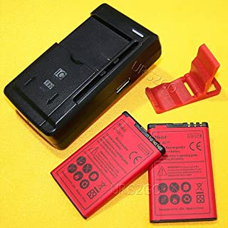 High Power Nokia Lumia Battery Kit[2Batteries+1Charger] 1800mAh Spare Li-ion Extended Slim Batteries + Dock Universal Charger for T-Mobile Nokia Lumia 530