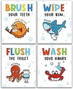 "Funny Sea Critters Bathroom Decor Rules, Novelty ocean Shark Bathroom Art Prints 4 Set(8""X10""), Sea Wall Art Poster for Nursery, Teen Girls, Boys, Son, Nephew, Kids Bathroom Decor, Unframed (Octopus)"