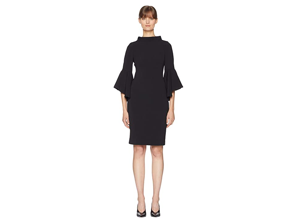 Badgley Mischka Bell Sleeve Faille (Black) Women