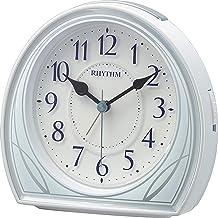 リズム(RHYTHM) 置き時計 ブルー 12.4x12.5x6.3cm 目覚まし時計 連続秒針 電子音アラーム ライト スヌーズ 8RE677SR04