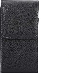 Faux Leather Cell Phone Holster Holder Belt Clip Pouch Case for LG V35 ThinQ | G8 ThinQ | Huawei P20 | iPhone XR | BLU ViVo 5 | Samsung Galaxy S9 (Fit a Thin case on) (M (Fits Phone 150-155mm))