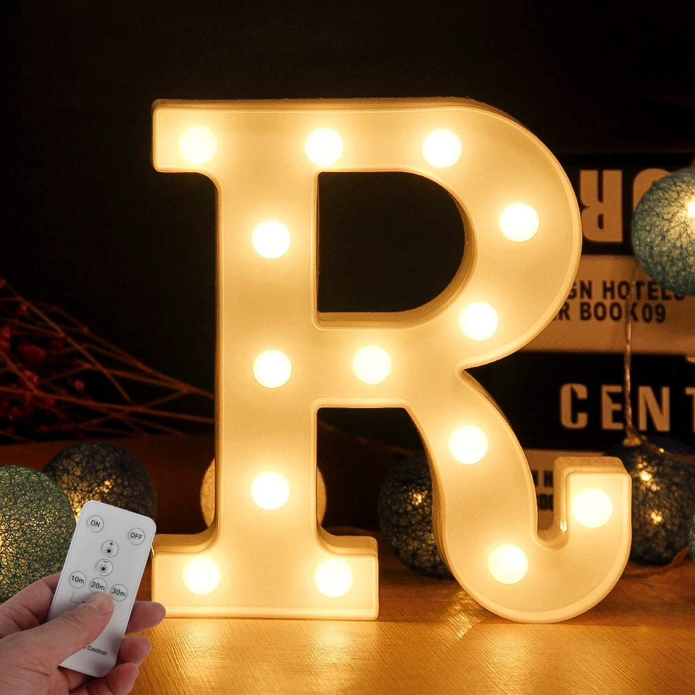 Light Up Letters for Wall Decor,Led Letter Lights Alphabet Light Up Letter Sign with Remote Control for Switch Timer Dimmable for Bedroom Wedding Party Birthday Home Bar Decoration(Letter-R)