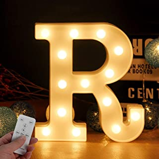 WHATOOK Large Light Up Letters LED Marquee Sign Letter Lights with Remote Control 26 Alphabet Letters Lamp with Boxes Perfect Wall Decor for Wedding Party Home Bar(Letter-R)