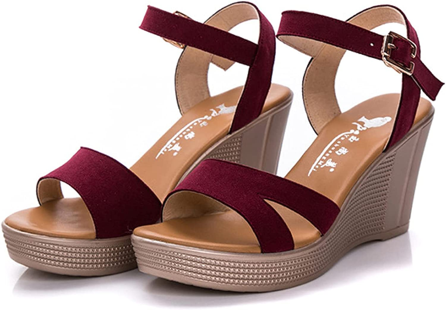 Women's Suede Vamp Wedge Sandal Open Toe Ankle Strappy Heeled Summer Fashion Anti Slip Outdoor Shoes