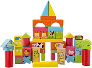 ErYao Wooden Blocks Construction Building Toys Set Stacking Bricks Board Games, Children's Educational Toys