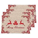 Awtlife - Tovagliette in iuta di Natale, ideali per cene e cene, 4 pezzi