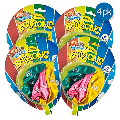 Hanukkah Balloons 24 Pack - Pink, Green and Yellow 'Happy Chanukah' Printed Party Balloons, Toy and gift