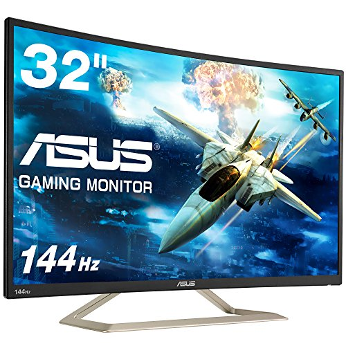 ASUS ゲーミングモニター ディスプレイ VA326H 31.5インチ VA カーブ フルHD 144HZ フリッカーフリー ブル...