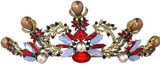 FELICILII Accessori da Sposa Copricapo da Sposa con Copricapo in Cristallo colorato Barocco con Corona di Strass Vintage c...