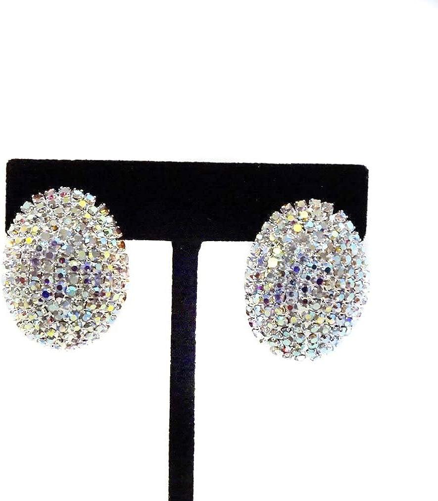 Clip-on Earrings Rhinestone Iridescent Earrings 1.25 inch Oval Earrings