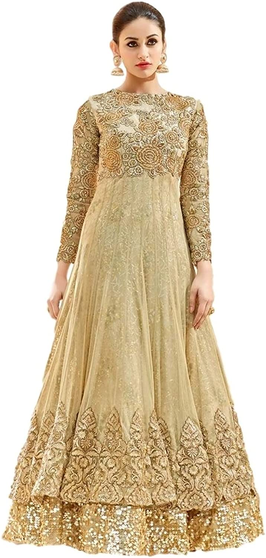 Ethnicwear Indian Beige Net Embroidered Sangeet Partywear Embroidered Sequence Resham Anarkali Suit