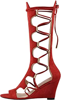 Onlymaker Women's Lace Up Gladiator Wedge Sandal Boots Fashion Sexy Cutout Mid Calf Back Zipper Sandals for Spring Summer 10 M US