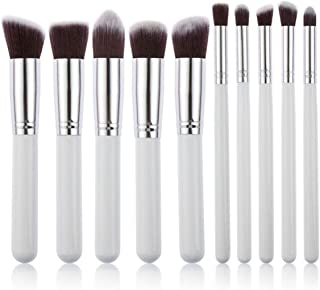 Garberiel 10x Makeup Brush Set Cosmetic Foundation blending pencil brushes Beauty Tools (White-Silver)