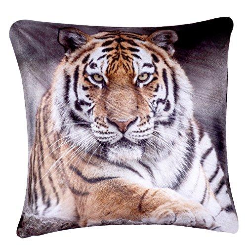 Digital Printed Plush Velvet 3D Animal Themed Square Cushion Covers (18' x 18') Cute (Plush Velvet Tiger)