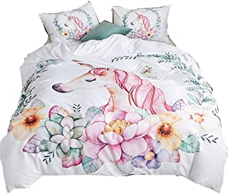 ADASMILE A & S Unicorn Bedding 2 Piece Flower Girl Bedding Set Cartoon Unicorn Pink White Bedspreads Cute Duvet Covers for...