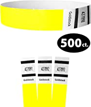 """Tyvek Wristbands - Goldistock Original Series Vivid Neon Yellow 500 Count - ¾"""" Arm Bands - Paper-Like Party Armbands - Heavier Tyvek Wrist Bands = Superior Events"""