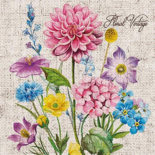 Tovaglioli di carta monouso, Vintage floreale, 20 pezzi 3 strati - 33 x 33