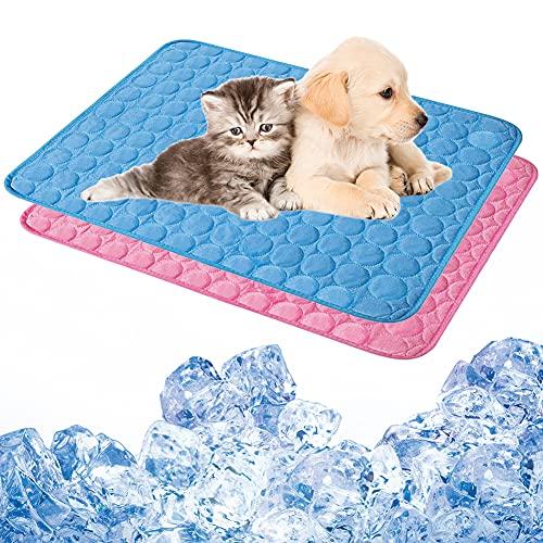 Hilloly Colchoneta de Enfriamiento para Mascotas 2PCS Alfombra Refrescante para Perro Alfombrilla de Refrigeración para Perros 40CM*50CM