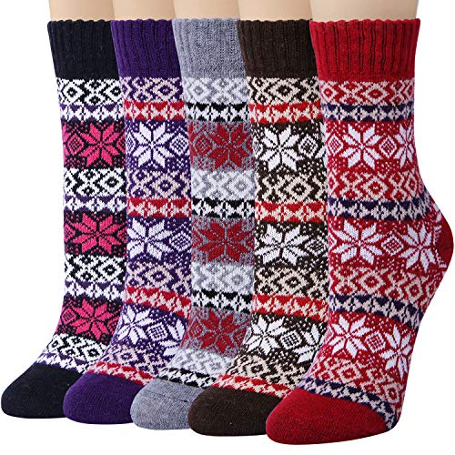 5 Pairs Womens Cold Weather Soft Warm Thick Knit Crew Casual Winter Wool Socks,Multicolor 09,One Size
