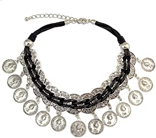 Bohemian Turkish Leather Chain Silver Plated Choker Coins Necklace 6691