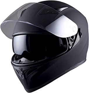 1STorm Motorcycle Street Bike Dual Visor/Sun Visor Full Face Helmet Mechanic Matt Black,..