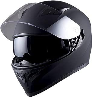 1STorm Motorcycle Street Bike Dual Visor/Sun Visor Full Face Helmet Mechanic Matt Black, Size XL (23.2/23.6 Inch)