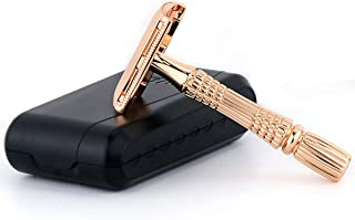 BAILI Double Edge Safety Razor Shaver Knife for Men Women Standard Short Handle with 1 Swedish Blade, Mirrored Travel Case, Rose Gold, BD178