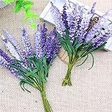 Whbage Lot de 20 fleurs séchées en PE lavande artificielle DIY Couronne de matériel de lavande de mariage Décoration de fleurs artificielles et séchées