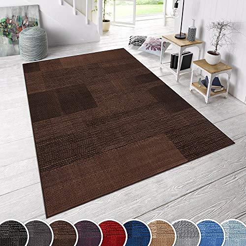 TeppichBoss Design Kurzflorteppich Teppich Marble kariert meliert Karo Platten Optik, Größe:160x230 cm, Farbe:Dunkelbraun