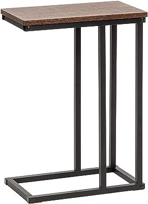 Movian - Marque Amazon, Table d'appoint / Table de chevet en bois et métal, Montage Facile & Cadre Robuste, Bureau,salon - C-Shape Side Table SDT-L - Brun & noir