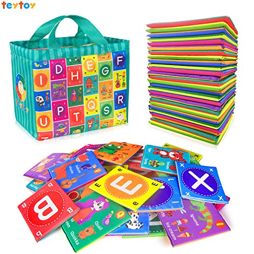 teytoy Baby Soft Alphabet Cards Toys, 26Pcs ABC Alphabet Baby Flash Cards Early Learning Toy with Storage Bag, Washable Soft Letter Toy for Toddlers Kids Boys Girls Over 0 Years