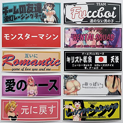 JapanAnimeWaifuCarDecalCuteLoliStickersfor Adult JDMCarDecalsTunerJapaneseRacingDecals5.9'2.1'