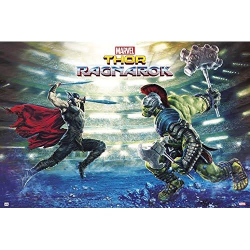 Grupo Erik GPE5200 Poster Marvel Thor Ragnarok Battle, carta, Multicolore, 91 x 61,5 x 0,1 cm