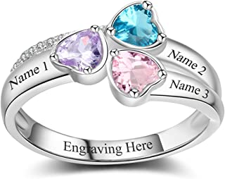 Lam Hub Fong Personalized Mothers Rings with 3 Simulated Birthstones for Grandmother Mother Anniversary Rings Mothers Day Mother's Day Rings for Mom