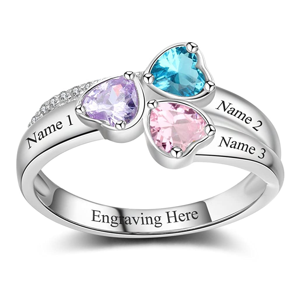 Lam Hub Fong Personalized Mothers Rings with 3 Simulated Birthstones for Grandmother Mother Meaningful Anniversary Rings Mothers Day Mother's Day Rings for Mom pihg8927782410