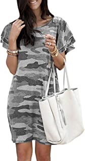 Onsoyours Sommerkleid Damen Casual Lose Kurzarm T-Shirt Kleider Camouflage Print Frauen Freizeitkleid Elegant Boho Blumen Strand Kleider