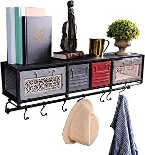 JHUEN Bibliothèque Murale cubique Chambre Salon tiroir étagère en métal LOFT étagère de Rangement étagère Flottante unité ...