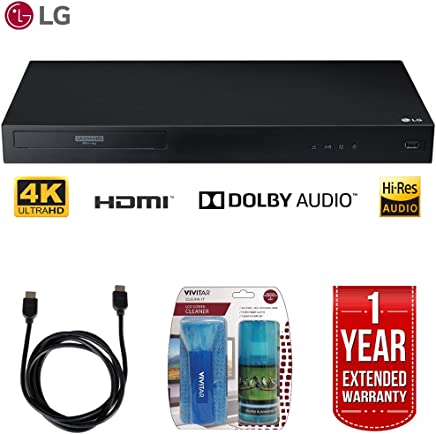 $156 Get LG UBK80 4k Ultra-HD Blu-Ray Player w/ HDR Compatibility + LCD Screen Cleaner w/ Micro Fiber Cloth and Cleaning Brush + 6ft High Speed HDMI Cable (Black) + 1 Year Extended Warranty
