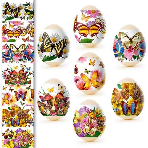 Unbekannt Ostern Schmetterlinge Ostereier Eieraufkleber Eierfarben Oster Dekorbanderolen, 7 Verschiedene Motive in Packung