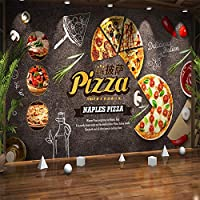 3Dクリエイティブな雰囲気の食べ物漫画ピザ壁画壁紙カフェレストラン背景装飾壁画紙-350x256cm