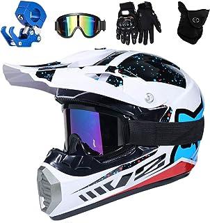 QYTK Full Face MTB Helm, Motocross Cross Helm für Enduro Downhill MX Mountainbike ATV Junge Motorradhelm Zubehör mit Brille Maske Handschuhe Helmhaken,Helle Weiße Blau