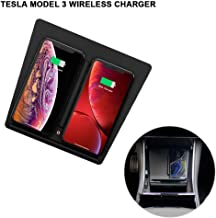lesgos Model 3 Qi Fast Charger, Wireless Charger Stand with Dual USB Ports for Tesla Model 3 Accessories,Dual Mobile Charger for iPhone Xs MAX/XR/XS/X/8/8 Plus Samsung Galaxy All Qi-Enabled Phones