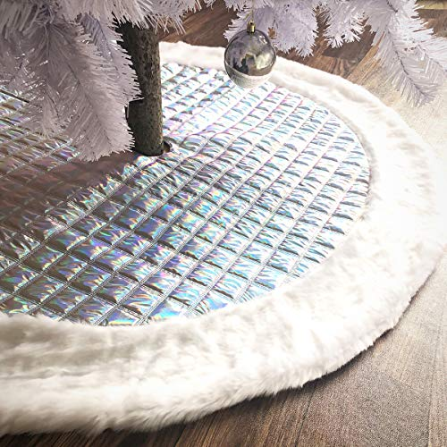 AISENO 48 Inch Christmas Tree Skirt Silver Glitter Rainbow Thick Luxury Quilted Stockings with Faux Fur Decoration for Merry Christmas Party Shiny Sequin Christmas Tree Skirt Xmas Decorations