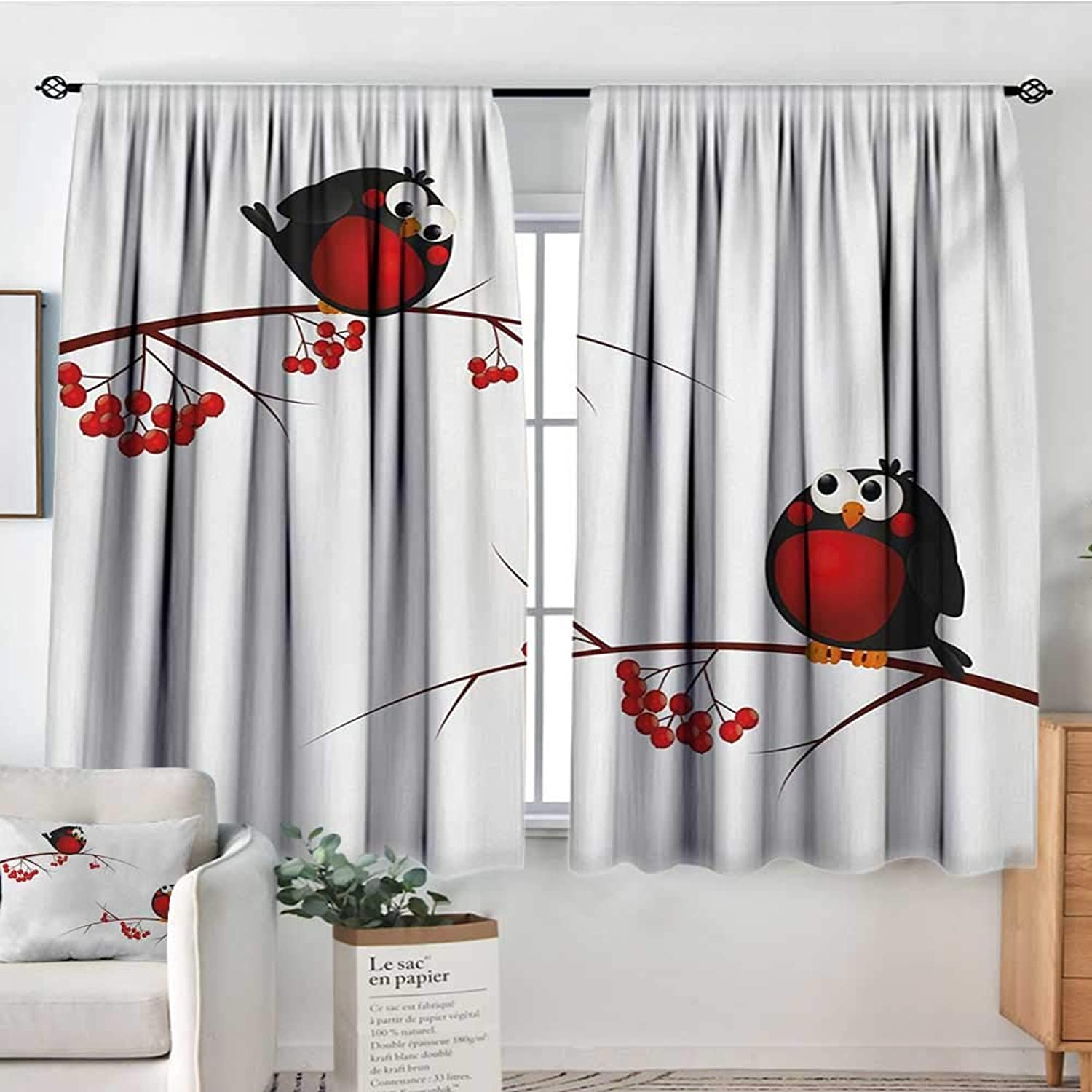 All of better Rowan Thermal Insulating Blackout Curtain Cute Kids Themed Cartoon Style Birds on Branches Funny Happy Christmas Design Kid Blackout Curtains 55  W x 45  L Red Black White