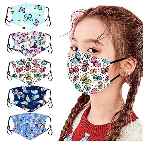 [US Stock]5pcs Kids Children Face_Mask Tie Dye Printed Face Masks Washable Reusable Face Cotton Cloth Face_Mask, Adjustable Cloth Face bandana for Kids Girls Boys Outdoor School